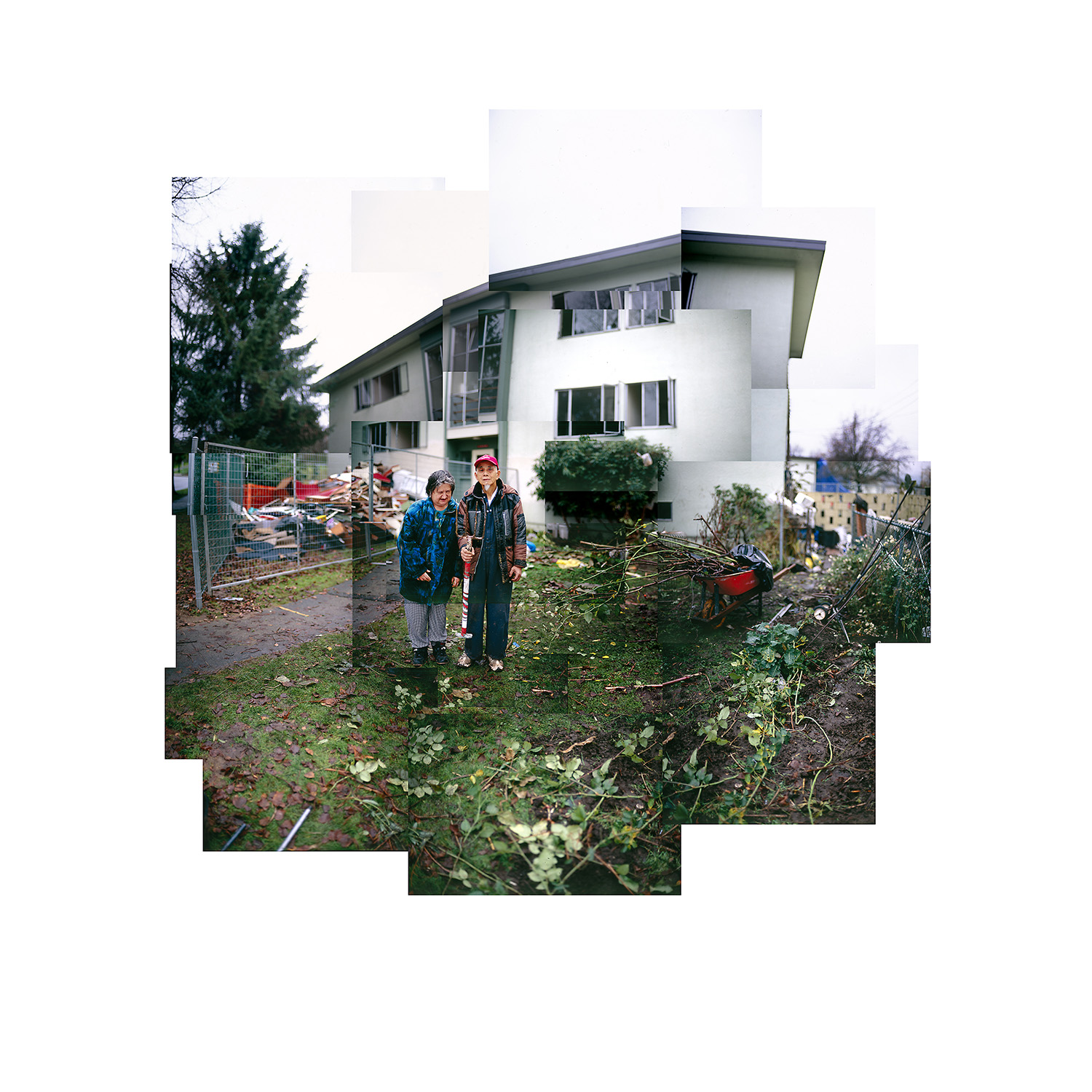 Sammy and Joan are framed by their home at Little Mountain prior to its demolition in 2009 - David Vaisbord photo.