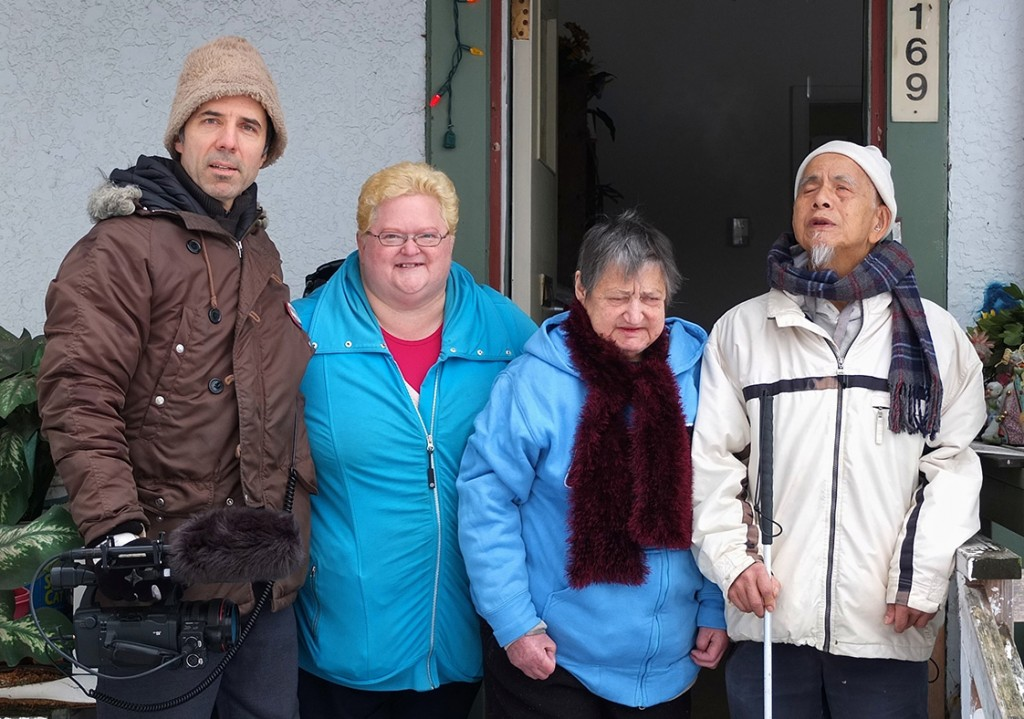 Filmmaker and three of the four last tenants of the Little Mountain Housing Project:  Ingrid Steenhuisen, Joan and Sammy Chang (Not pictured: Karin Nicholetti)