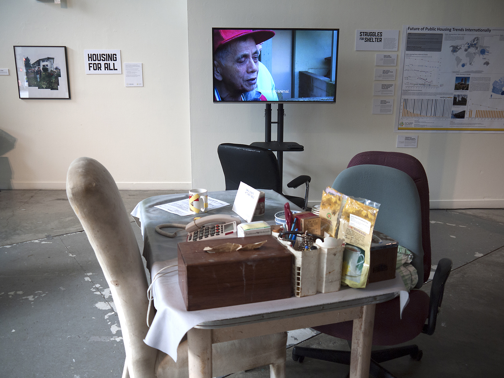 Sim & Joan's Kitchen Table and excerpt from the Little Mountain Film on Screen.The Little Mountain Project – Interurban Gallery May 2015.