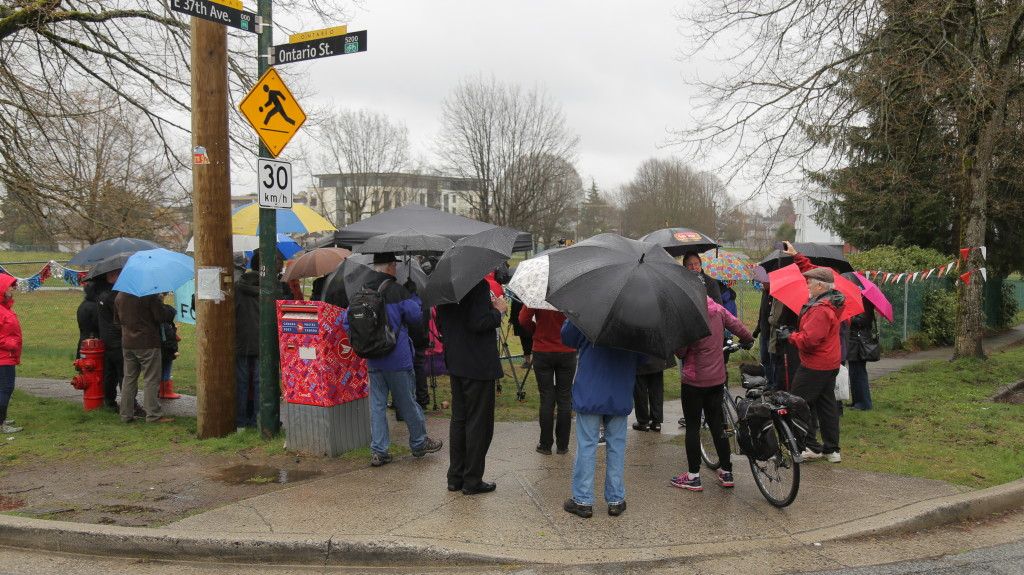 It's wet out during ceremony at Little Mountain for the Rich Coleman Vacant Lot